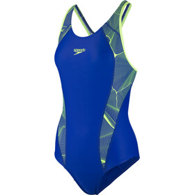 speedo Fit Laneback Swimsuit Women, blue/green